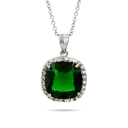Cushion Cut Sterling Silver Emerald Green Pendant