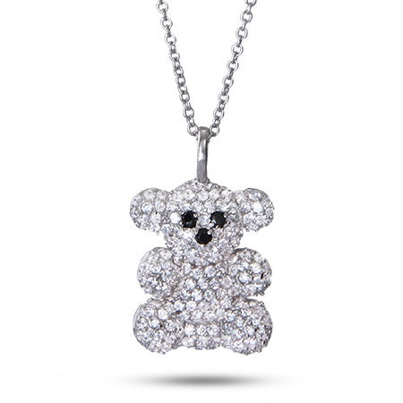 Sparkling Fuzzy Teddy Bear Pave CZ Necklace