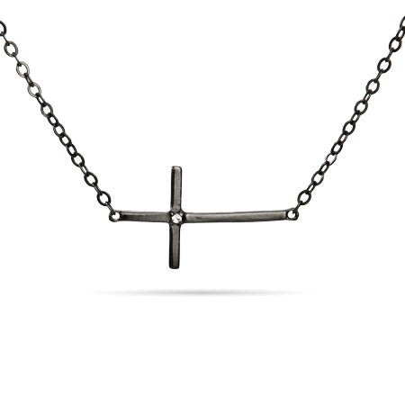 Black Rhodium Single CZ Sideways Cross Necklace