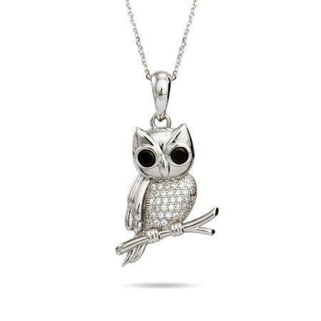 Sterling Silver Micro CZ Wise Owl Pendant