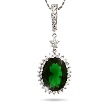 Oval Cut Emerald CZ Pendant with CZ Star Accent