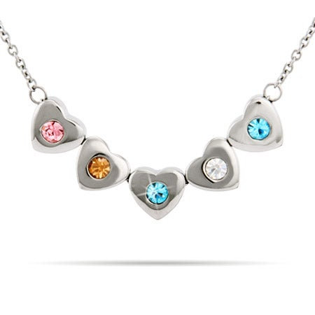 5 Stone Family of Hearts Custom Birthstone Necklace