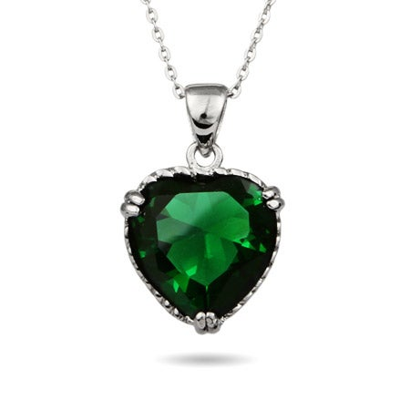 Emerald Green Sterling Silver Heart Pendant