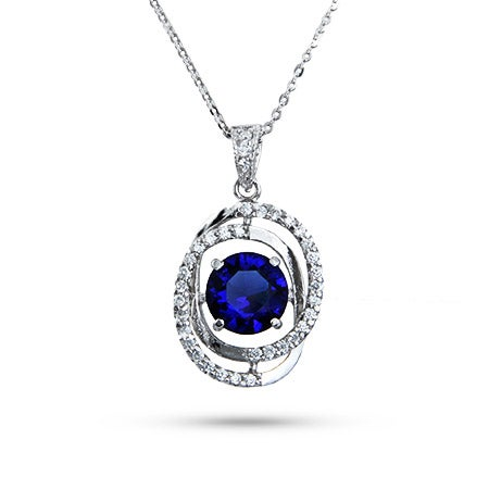 Sterling Silver Floating Sapphire CZ Necklace