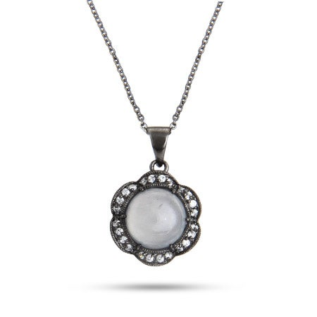 Oxidized Silver and CZ Moonstone Flower Necklace