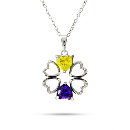 2 Stone Heart Birthstone Couples Necklace