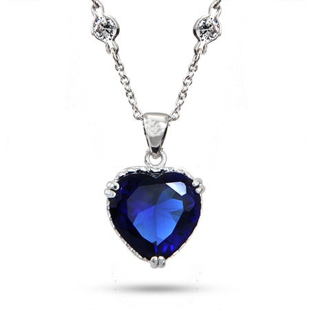 Movie Inspired Heart of the Ocean Sapphire CZ Heart Necklace