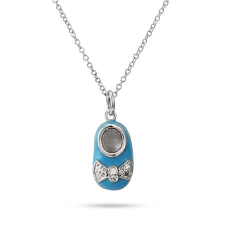 Engravable Blue Enamel Baby Shoe Pendant | Eve's Addiction