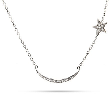 Sideways Moon and Star CZ Silver Necklace