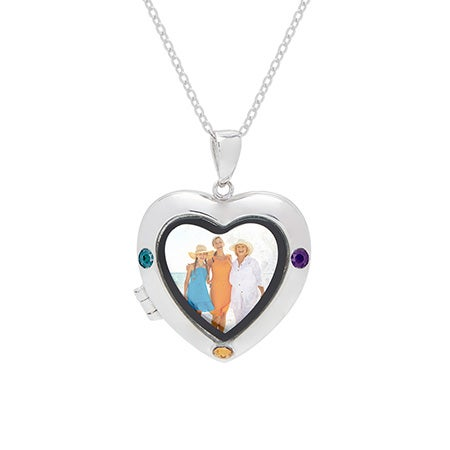 3 Birthstone Silver Photo Heart Locket
