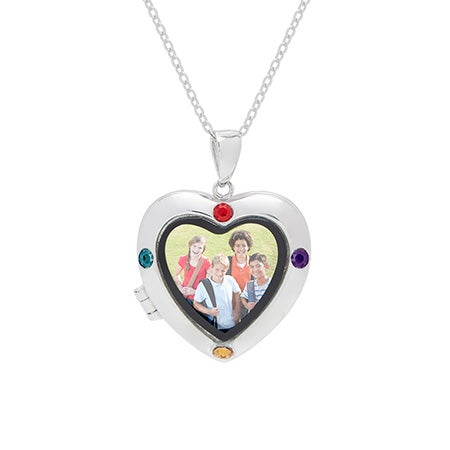 4 Stone Custom Silver Photo Heart Locket Necklace