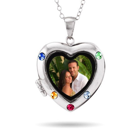 Custom 5 Birthstone Silver Photo Heart Locket