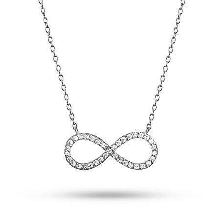 Sterling Silver CZ Infinity Necklace | Eve's Addiction