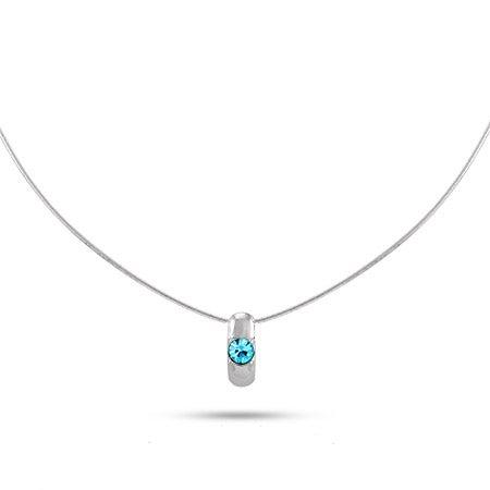 Custom Birthstone Silver Slide Necklace