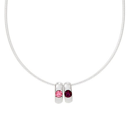 2 Birthstone Custom Sterling Silver Slide Necklace
