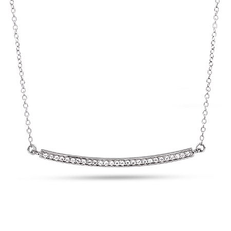 Designer Inspired Silver and CZ Bar Necklace | Eve's Addiction®