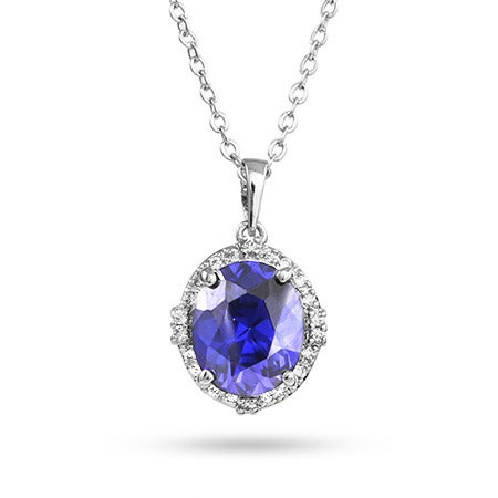 Sterling Silver Crown Set Tanzanite CZ Pendant