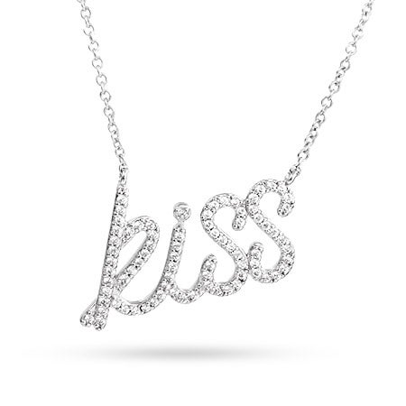 Designer Style Sterling Silver CZ Kiss Necklace