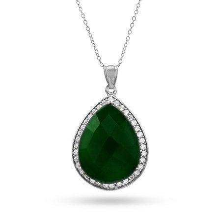 Emerald Green Quartz CZ Peardrop Pendant