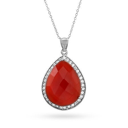 Genuine Red Carnelian Quartz CZ Peardrop Necklace