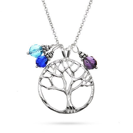 Silver Tree of Life Pendant with Dangling Birthstones | Eve's Addiction