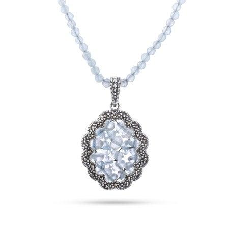 Vintage Style Genuine Aquamarine Beaded Marcasite Necklace