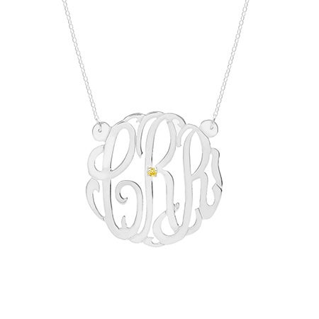 Sterling Silver Birthstone Monogram Necklace