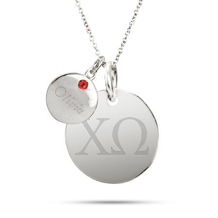 Chi Omega Sterling Silver Double Round Tag Pendant