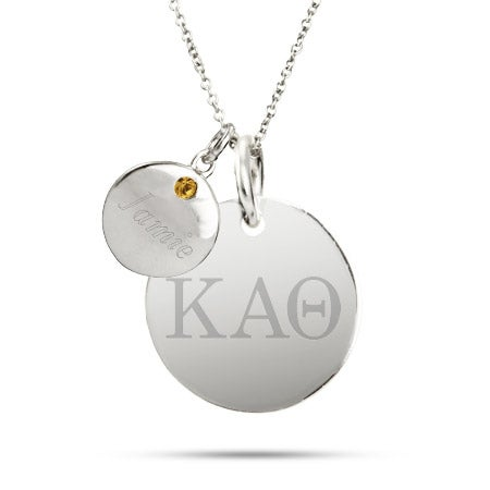 Kappa Alpha Theta Sterling Silver Double Round Tag Pendant