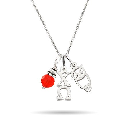Chi Omega Sterling Silver Charm Necklace