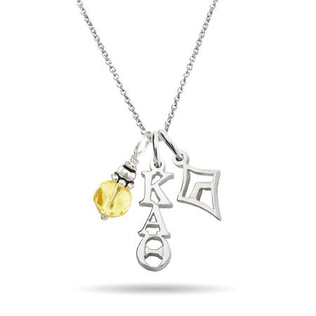 Kappa Alpha Theta Sterling Silver Charm Necklace