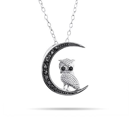Sterling Silver Midnight Owl Pendant