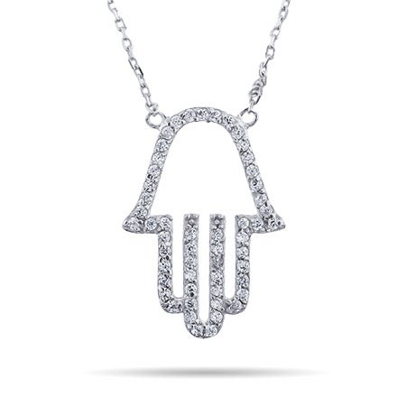 Sterling Silver CZ Hamsa Necklace | Eve's Addiction