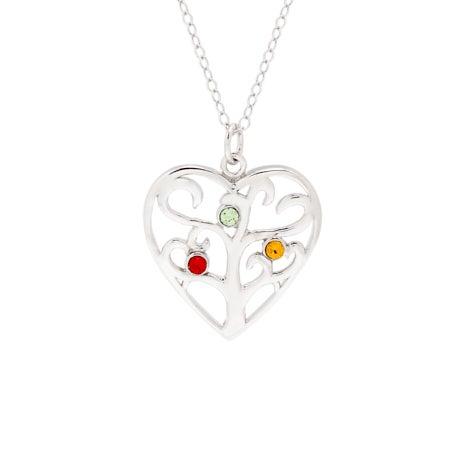 Custom 3 Birthstone Heart Family Tree Pendant | Eve's Addiction®