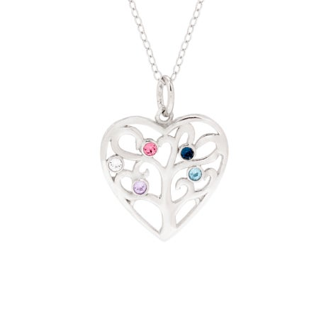 5 Birthstone Heart Family Tree Necklace