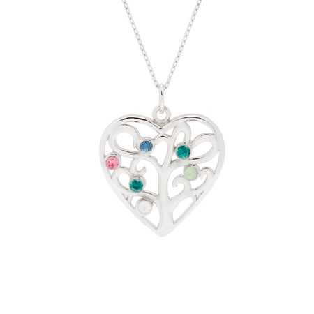 6 Birthstone Heart Family Tree Pendant