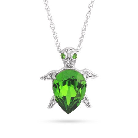 Emerald Green CZ Turtle Pendant