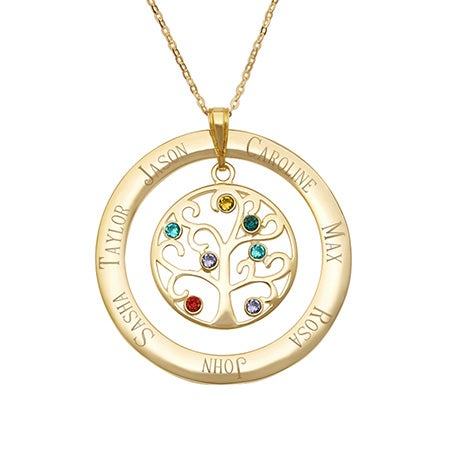 7 Birthstone Engraved Gold Vermeil Family Tree Pendant