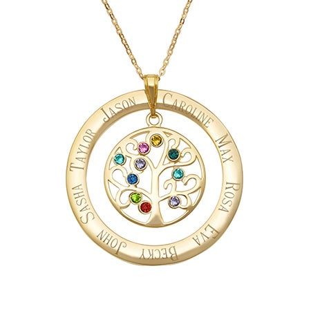 Engraved Gold Vermeil 10 Stone Family Tree Pendant