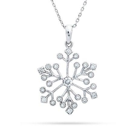 Sterling Silver Delicate CZ Snowflake Pendant