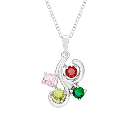 Grandchildren jewelry for grandma sterling silver swirl necklace with custom birthstones