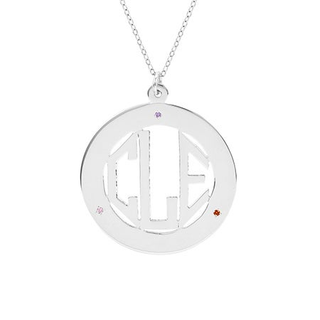 3 Birthstone Block Monogram Silver Necklace