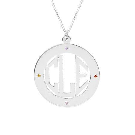 4 Stone Block Monogram Sterling Silver Pendant