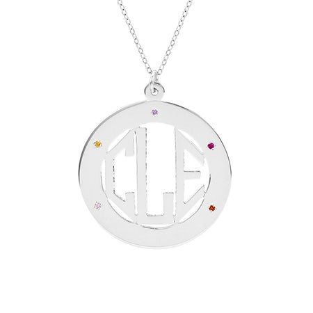Sterling Silver 5 Birthstone Block Monogram Necklace