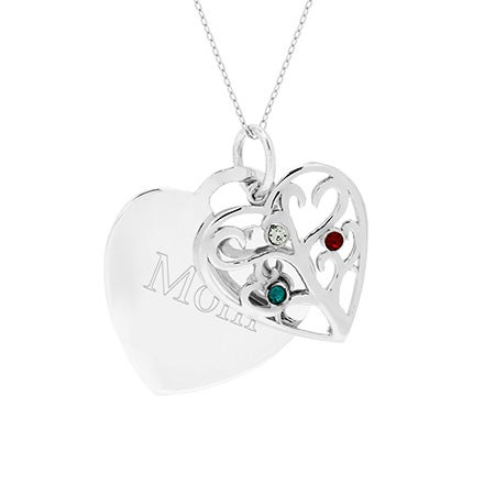 Engravable 3 Stone Heart Birthstone Family Tree Pendant