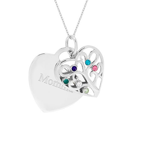 Engravable 6 Stone Heart Birthstone Family Tree Pendant
