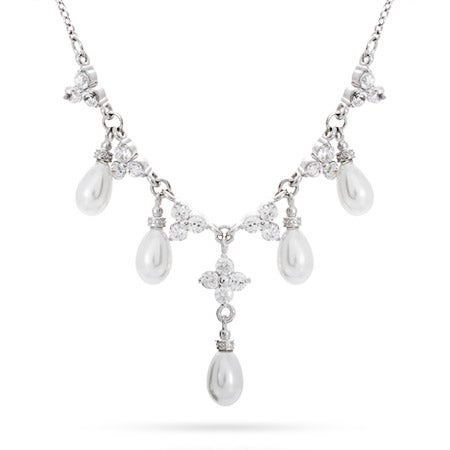 CZ Cluster Pearl Necklace