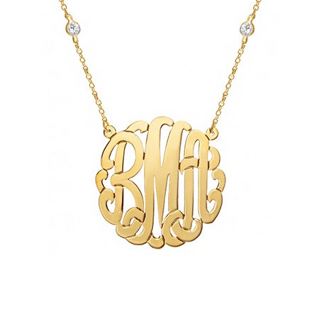 CZ Studded Chain Gold Vermeil Monogram Necklace