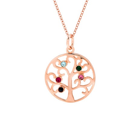 Custom 5 Birthstone Rose Gold Vermeil Tree Pendant