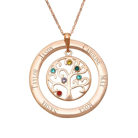 6 Stone Engraved Rose Gold Vermeil Birthstone Family Tree Necklace